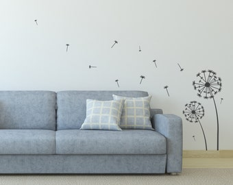 Wall Sticker dandelion - Interior Wall Decal - Home Wall Decor Wall Art Graphic - Removable Vinyl Wall Sticker | Seeds Blowing in the Wind