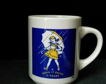 Morton Salt Advertising Mug 1956, Morton Salt Girl Mug, Morton's Salt Girl Coffee Mug, When It Rains It Pours Cup, Morton Salt, Advertising