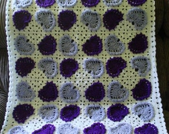 """Baby Blanket done in a """"Heart"""" design in Deep Purple, Light Purple and White 8 ply Acrylic Yarn"""