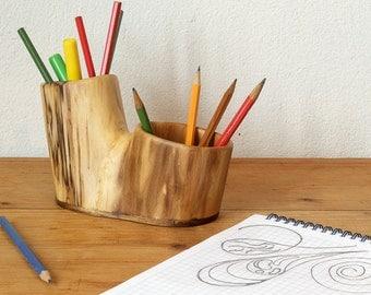 Desk organizer / wooden pencil holder / home office decor / natural wood pen holder / desk accessories / desk storage