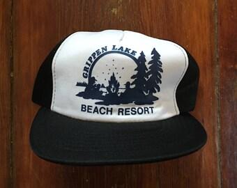 Vintage Grippen Lake Beach Resort Trucker Hat Snapback Cap