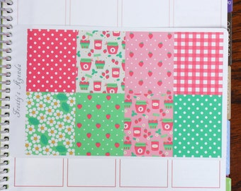Strawberry Pickings Full Box Covers (8 Planner Stickers)
