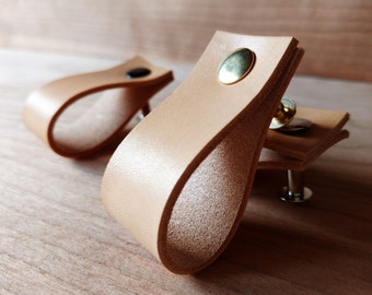 Leather Pulls, Drawer, Dresser, Cabinet, Door Handles. Cabinet Kitchen Pulls, Cupboard Handles Straps, Knobs - 2mm/5 oz Thick Leather Pulls