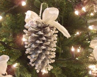 Set of 2 Beaded White Pine Cone Ornaments-Handmade
