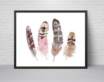 Feathers Wall Art, Watercolor feathers print, Coastal wall decor, Feathers poster, Light Pink Brown print, Minimalist Boho Room Decor