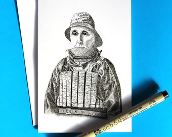 Cromer Coxswain A6 Pen & Ink Greeting Card