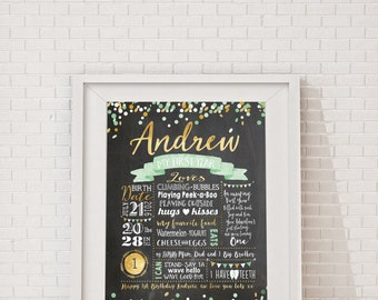 First Birthday Chalkboard Poster - Mint and Gold Confetti Birthday, Milestone Board, Baby Boy's 1st birthday, Photo Prop. Mint Green & Gold