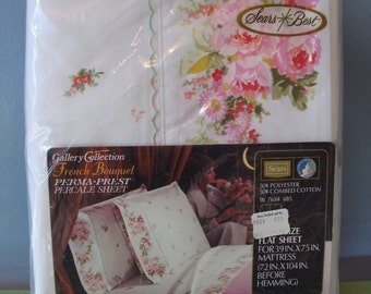 Vintage Flat Sheet Floral Print 60's Sears Best French Bouquet Shabby Chic Deadstock NOS Original Pacakaging Twin Size Lovely Pretty 1960's