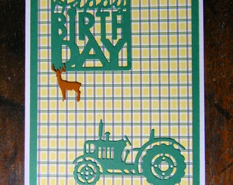 Happy Birthday Greeting Card, Green Tractor Happy Birthday, Blank Inside, Layered Greeting Card, Handmade Greeting Cards