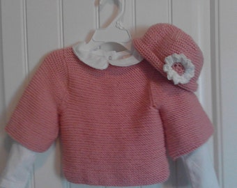 baby sweater ROSIE POSIE SWEATER with matching hat.