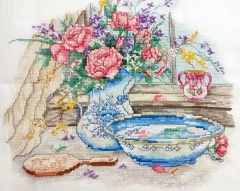 Paula Vaughan Cross Stitch/Blue and white/Flowers/ready to frame