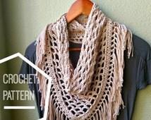 Crochet Scarf Pattern, Triangle Scarf Pattern, Fringe Scarf Crochet Pattern, Triangle Mesh Scarf Crocheted  Pattern, Spring Scarf Pattern