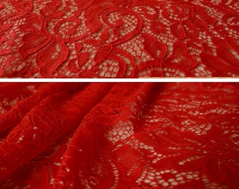 Red lace, bridal lace, Red stretch lace, Red cotton lace