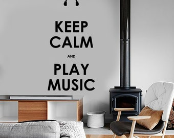 Wall Vinyl Quote Keep Calm And Play Music Guaranteed Quality Decal Mural Art 1517dz