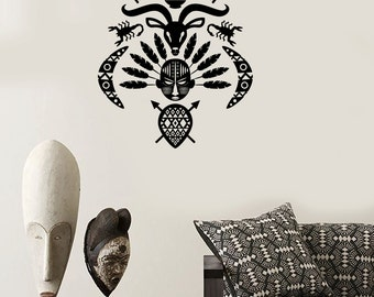 Wall Decal African Mask Symbol Tribal Cool Mural Vinyl Decal 1721dz