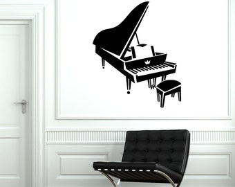 Wall Vinyl Decal Piano Classic Retro Music Pop Songs Guaranteed Quality Decor 2087di