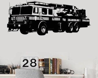 Wall Art Mural Fire Track Engine Fireman Cool Guaranteed Quality Decal 2212di