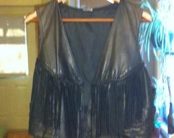 Black Leather Fringe Vest
