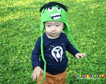 Crochet Hulk Hat, Baby Hat, Photo prop