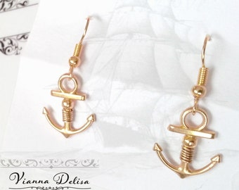 Gold Anchor Earrings - Small Anchor Earrings - Gold Jewellery - Anchor Jewellery - Nautical Jewellery - Nautical Earrings - Gold Earrings