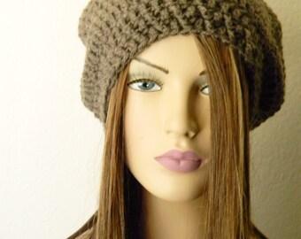 Sale! Deep Toupe Crochet Oversized Hat