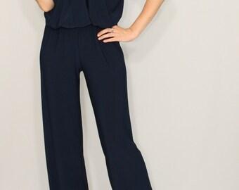 Navy jumpsuit Sleeveless jumpsuits women Wrap top