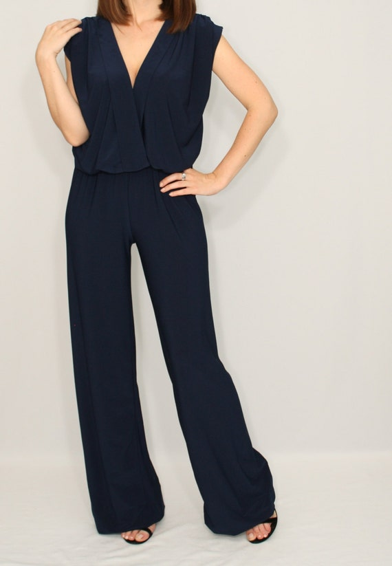 Awesome Navy Jumpsuit Sleeveless Jumpsuits Women Wrap Top