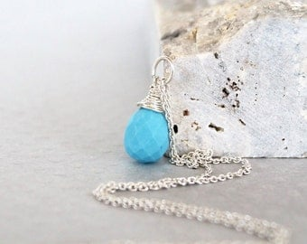 Natural Turquoise Pendant - Sterling Silver Wire Wrapped - Genuine Blue Sleeping Beauty Turquoise - Gemstone Jewelry - December Birthstone