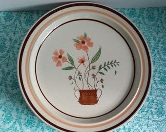 Japanese stoneware, set of 4, stoneware plates, floral stoneware, everyday plates, Japan plates, dinner plates, stoneware dinner plates