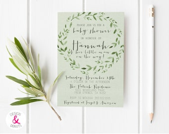 Forest Baby Shower Invitation, Woodland, Green [109b]
