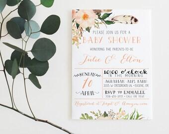 couples baby shower invitation gender neutral boho flower feather peach baby shower