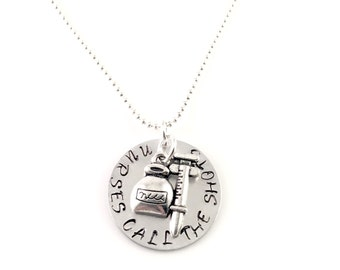 Nurse necklace, Nurses Call the Shots Hand Stamped Necklace with Charm, Charm necklace, for her, nurse graduation, nursing school