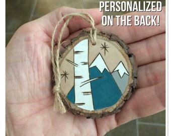 Personalized  wood Christmas ornament, mountains custom ornament, wood burning ornament, family ornament, holiday ornament