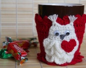 Coffee Tea Mug Cover Cup Cozy Sleeve - Hand Knit Funny red,owl, Cozy Coffee, in a beautiful gift wrapping Handmade