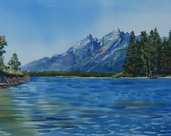 Original Watercolor Painting, Watercolor Landscape, View of the Grand Tetons, 13 x 24 inch watercolor, Jackson Lake, Wyoming