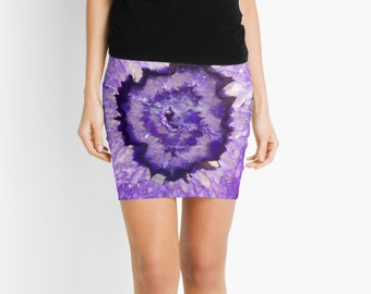 Pencil Skirt, Purple Agate Geode, 7 Sizes Available!