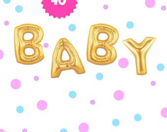 "40"" Gold BABY balloons/banner. Baby shower balloons. Mom to be balloons. Baby balloons. Oh baby balloons. Baby shower decor. Baby shower"