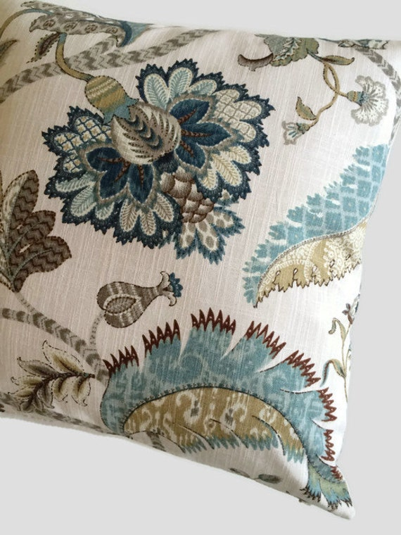 Jacobean Pillow Teal Navy Blue Tan Brown Cushion Cover
