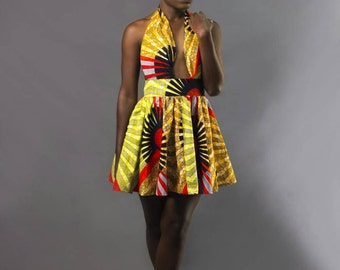 Mena Mode Backless Halter Dress in Ankara Fabric for formal events like weddings or prom