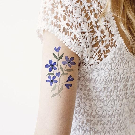 aquarelle fleurs tatouage temporaire poignet cheville corps. Black Bedroom Furniture Sets. Home Design Ideas