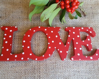 Freestanding Red Festive Love Sign, Christmas Decoration, Christmas Decor, Christmas Sign