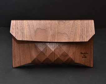 Wood and leather Clutch Geometrika. Only natural wood and leather!