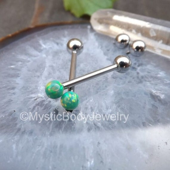 cheek piercing ring green opal barbell 14g