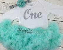 One - silver glitter shirt bodysuit, mint aqua pettiskirt tutu skirt, flower rhinestone headband, First Birthday, 1st Cake Smash baby girl