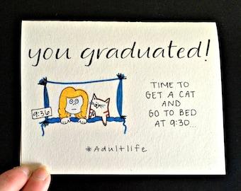 Funny Graduation Card / 2016 Graduate / Cat Graduation Card / Graduation Card Funny