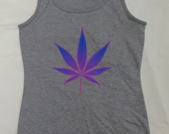 Pot Leaf Neon Women's Tank Tops Pot Leaf Weed Shirts Sports Gray