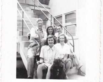 Vintage Photo Fun Photo Young Men Women Dog Snapshot Photo College Friend School Dorm Animal Old Photograph Black And White Photo 1950s C426