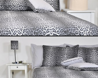 Leopard Duvet Cover Set in Full Queen King Size - Black Smoke Grey Leopard Print Cotton Fabric, Leopard Bedding Set