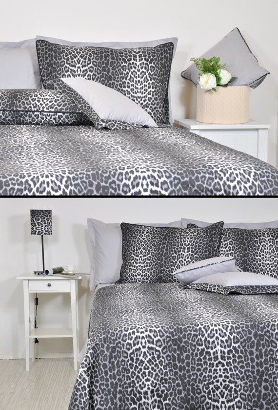 Leopard Duvet Cover Set In Full Queen King Size Black Smoke