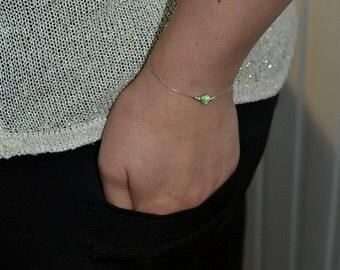 OPAL BRACELET // Tiny Opal Bracelet Silver - Kiwi Opal Ball Bracelet - Dot Bracelet - Single Bead Bracelet - Opal Bead Bracelet